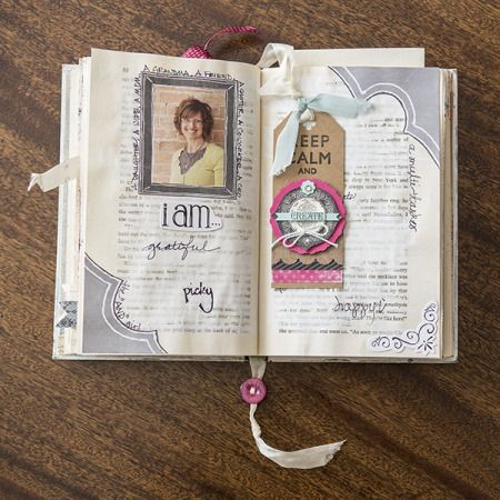Use a book as a medium for a scrapbook or creative journal.
