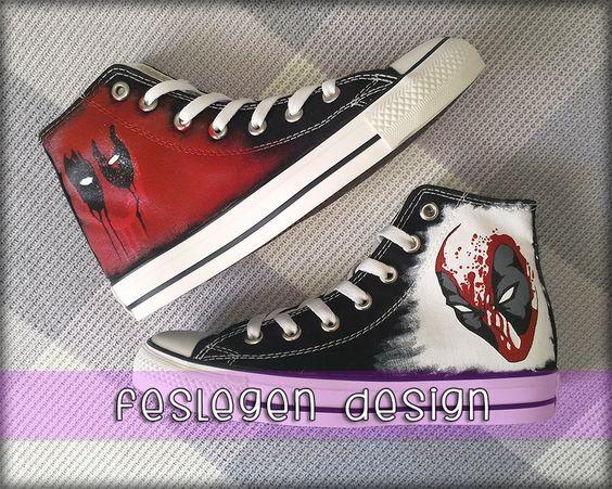 Deadpool Custom Painted Converse Shoes