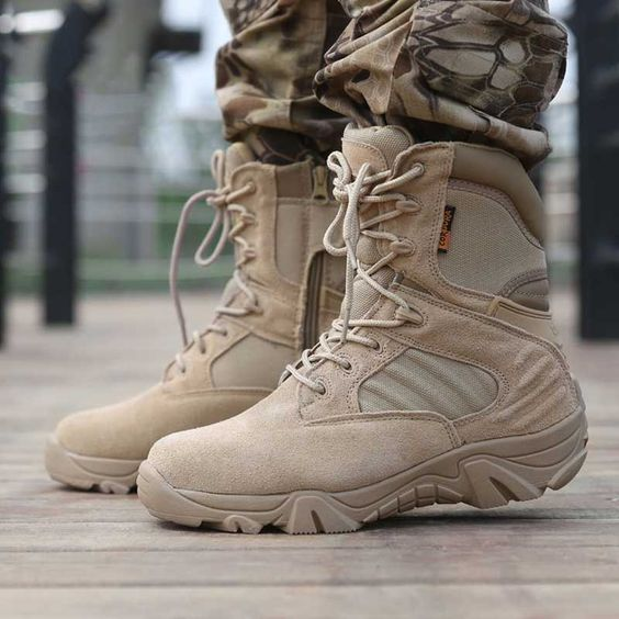 Motorcycle Boots Men Winter Boots Safety Shoes Tactical Military Boots Mid-Calf Snow Boots Leather Shoes Men Rubber Footwear
