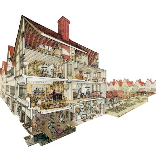 Cutaway Drawing Representing A London Merchants House In