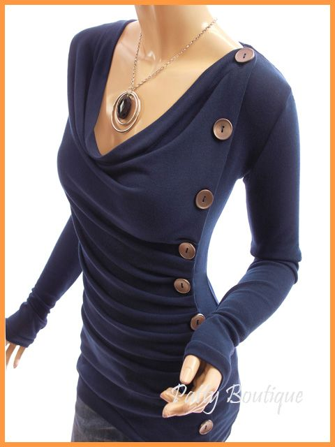 Cowl Neck Button Embellished Ruched Blouse Top - Navy Blue Maybe modify New Look 6150 and include buttoned seam along left side