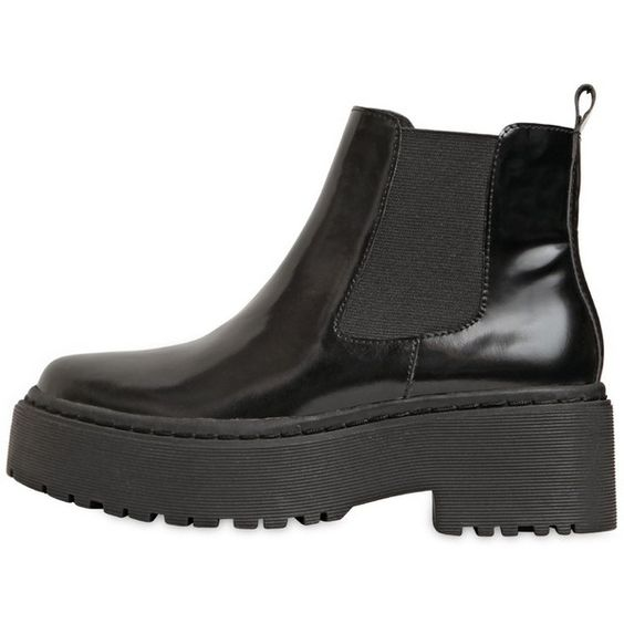 JEFFREY CAMPBELL 60mm Universal Brushed Leather Boots (210 CHF) ❤ liked on Polyvore featuring shoes, boots, black, black mid heel boots, leather boots, black shoes, leather platform boots and leather shoes