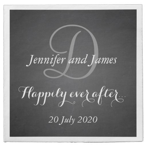 Chalkboard Monogram Happily Ever After