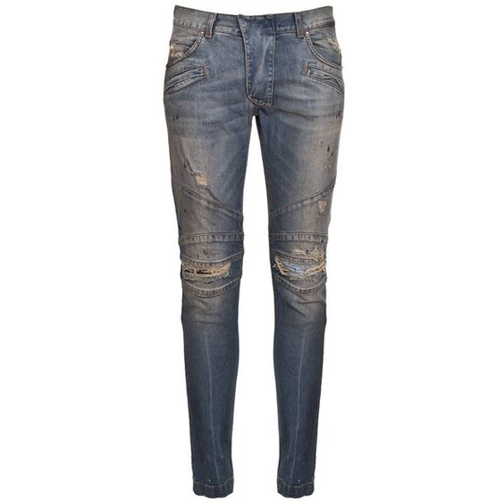 PIERRE BALMAIN Men's Slim-Fit Distressed Biker Jeans ($357) ❤ liked on Polyvore featuring men's fashion, men's clothing, men's jeans, mens biker jeans, mens slim jeans, mens slim fit jeans, mens torn jeans and mens distressed jeans