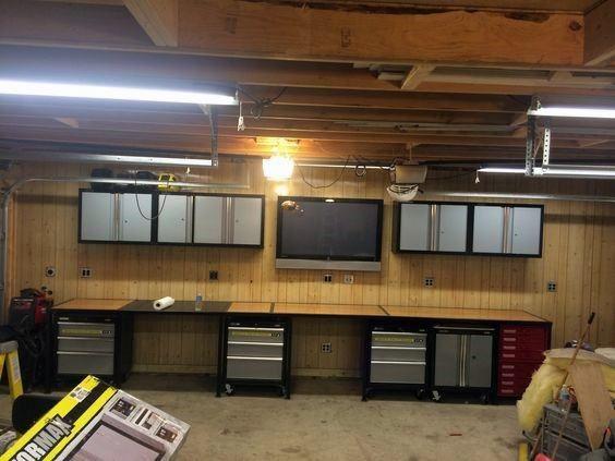 Top 70 Best Garage Wall Ideas Masculine Interior Designs Garage Work Bench Garage Design Building A Garage