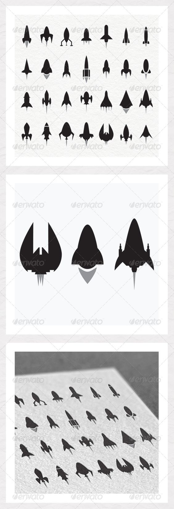 Rocket and Spaceship Silhouettes #GraphicRiver Rocket and Spaceship Silhouettes for your next project. Technical Information: CMYK 300dpi for print and web. 100% vector shapes. In the zip we have: EPS 10 file. PDF info file. Feel free to send photos of the silhouettes in use and please rate if you have a minute. Thank you. Created: 2May13 GraphicsFilesIncluded: VectorEPS Layered: No MinimumAdobeCSVersion: CS Tags: aviation