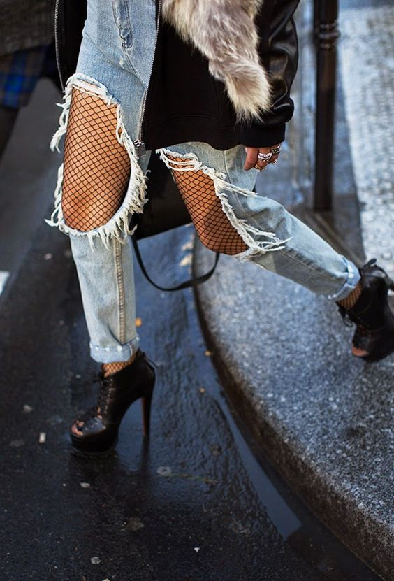 Image result for fishnets street style