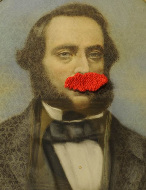 knitted mustache
