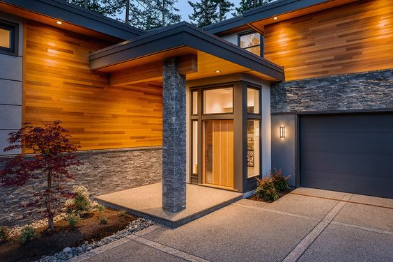 Gorgeous ledge stone house designs contemporary entry vancouver home insurance bark mulch cedar - Modern wood house models ...
