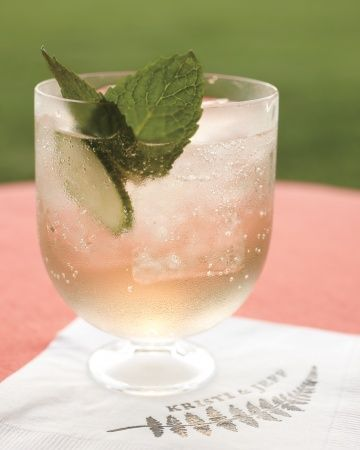 Elderflower Mint Prosecco Cocktail: Prosecco, chilled St-Germain mint leaves finely sliced cucumbers
