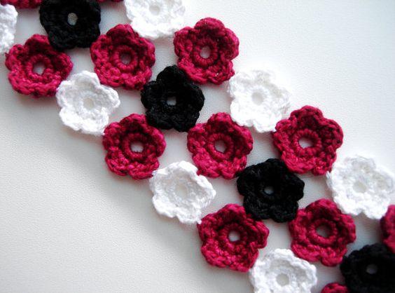 Crochet Bracelet Crochet Flowers Snow White Bordo by CrochetPocket, $8.26