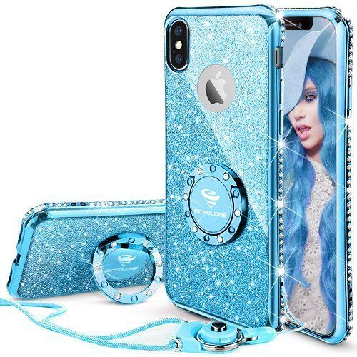 Iphone X Case Girls Women Cute Bling Diamond Kickstand Cover Bumper Shinny Blue Glitter Phone Cases Phone Cases Protective Glitter Iphone Case