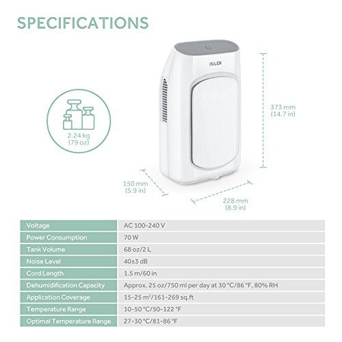 Electric Dehumidifier Isiler Portable Dehumidifier With 2l 4 2 Pints Water Tank 2200 Cubic Feet 269 Sq Ft For Bathroom Auto Shutoff Ultra Quiet D Dehumidifiers Water Tank Cubic Foot
