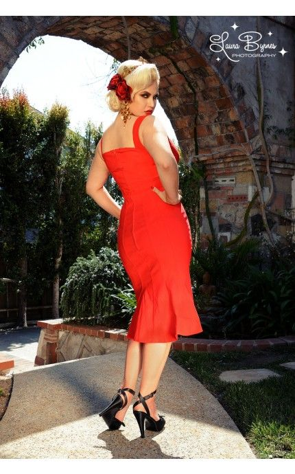 The Jessica Wiggle Dress In Vintage Red 12