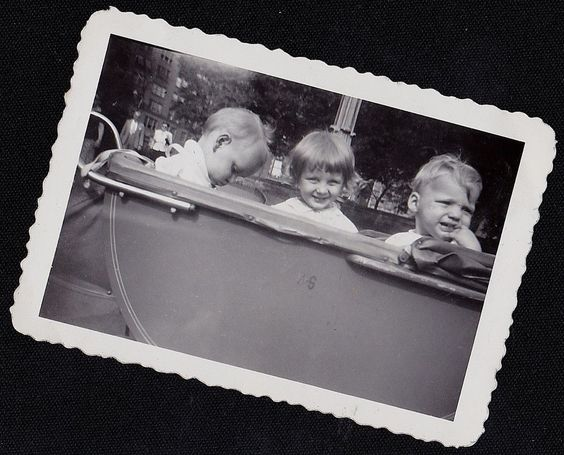 Vintage Antique Photograph Three Adorable Babies Sitting in Old Time Carriage