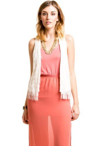 Modern Fringe Vest in White