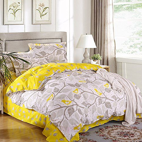 Lightinthebox Outlet Wonderful Grey And Yellow Leaves Bedding Sets