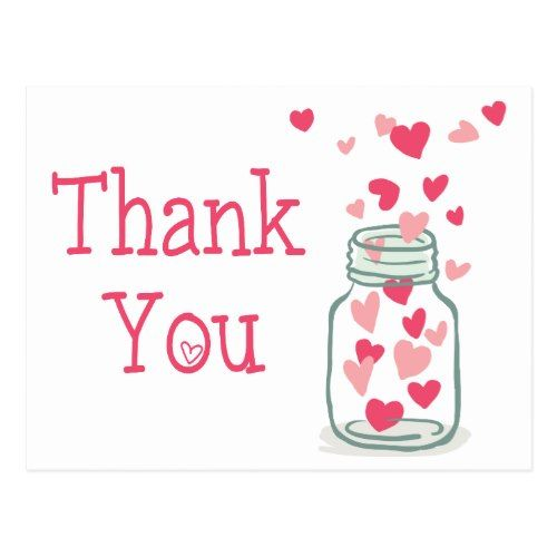 Mason Jar Thank You Cards Thank You Pink Hearts Vintage Mason Jar Love Postcard