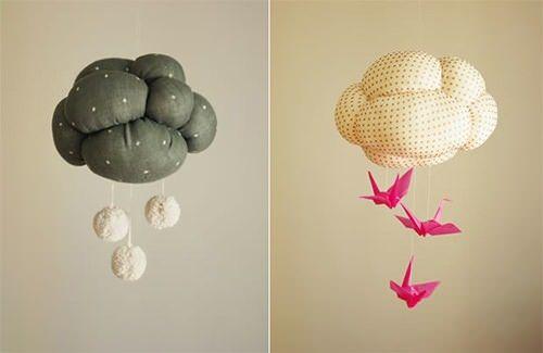 DIY Cloud Mobiles on handmade charlott