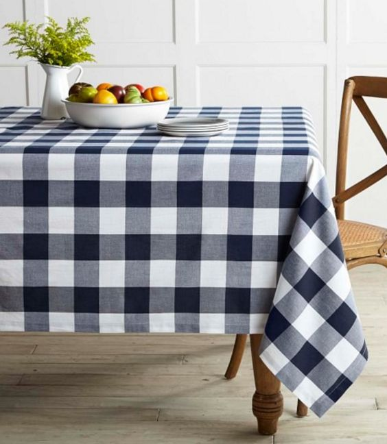 Navy Blue Gingham Tablecloth