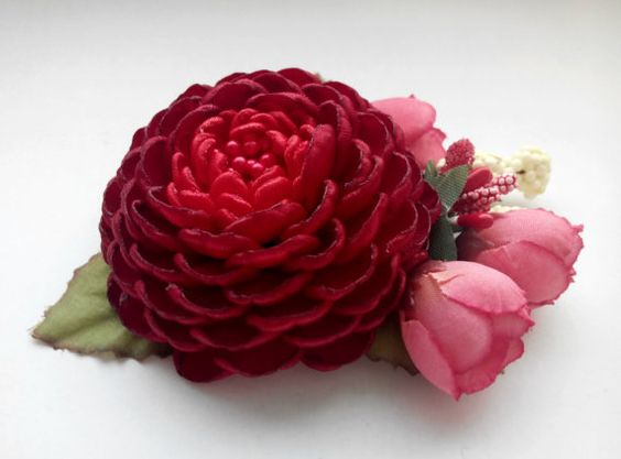 Flower Hair Accessory/ Girls hair clip/Red corsage by AirinFlowers #flower #hairclip  11$