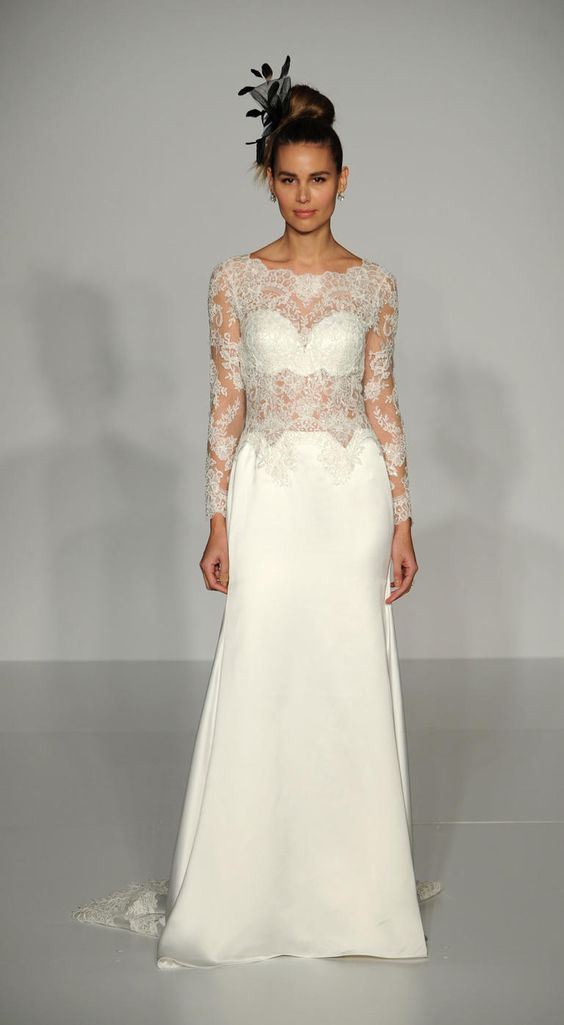 Silk wedding dress with illusion bodice and embroidered sleeves #weddindress