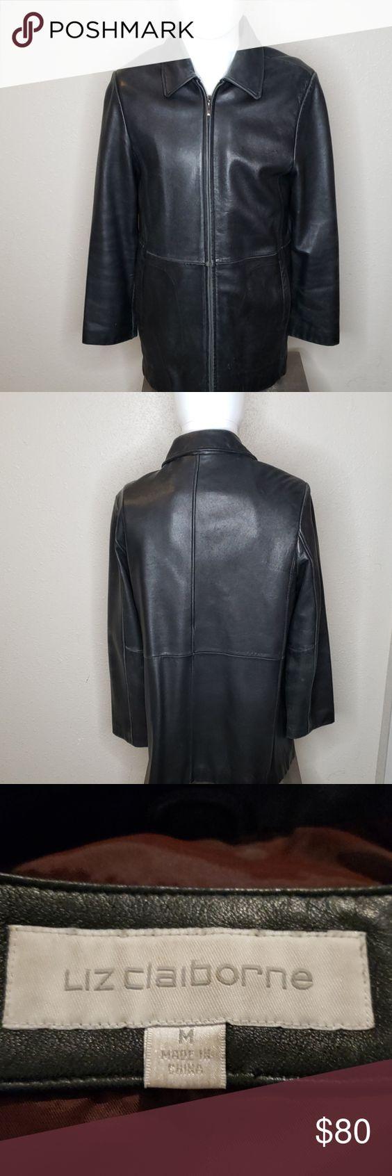 Liz Claiborne 100 Genuine Leather Jacket In 2020 Genuine Leather Jackets Distressed Leather Jacket Brown Leather Jacket Men