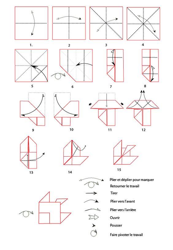 Fiche imprimer le poisson origami - Pliage serviette ourson ...