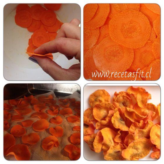 Chip de zanahoria al microondas! Snack ideal! Receta facilisima en ➡️www.recetasfit.cl
