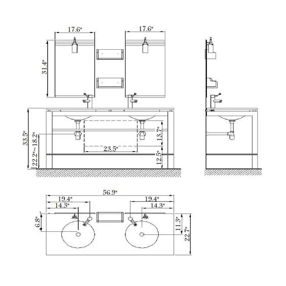 Bathroom Sink Measurements : ... Sink ... Dimensions Pinterest Double sink vanity, Bathroom