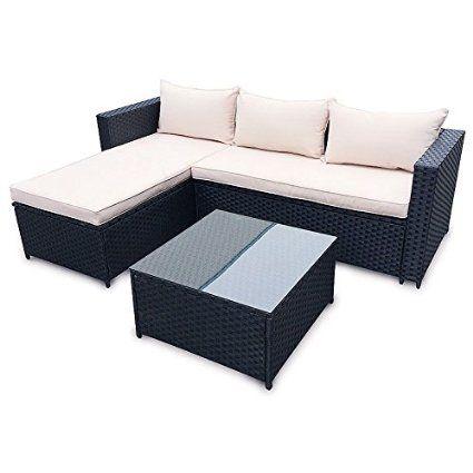 poly rattan corner lounge gartenset schwarz sofa garnitur, Garten und Bauen