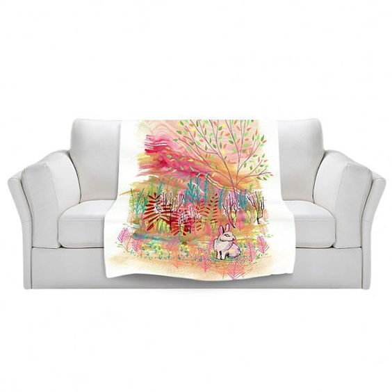 Blanket Fleece Throw collaboration between Aja and DiaNoche Designs S, M, L, XL Cotton Tail