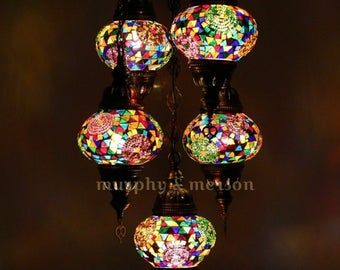 Handicraft Turkish Traditional Mosaic Lamp 5 Globe Chandeliers Etsy In 2020 Turkish Mosaic Lamp Mosaic Lamp Modern Hanging Lamp