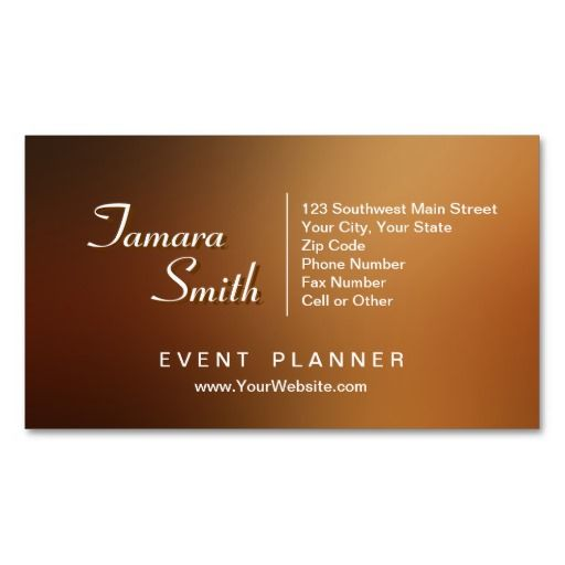 White And Brown Event Planner Business Card Templates. This Card