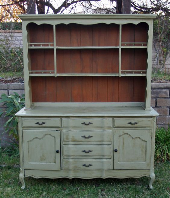 Vintage French China Hutch In Olive Branch By Foo Foo La