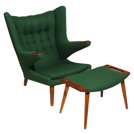 Papa Bear Chair and Ottoman by Hans Wegner | From a unique collection of antique and modern chairs at https://www.1stdibs.com/furniture/seating/chairs/