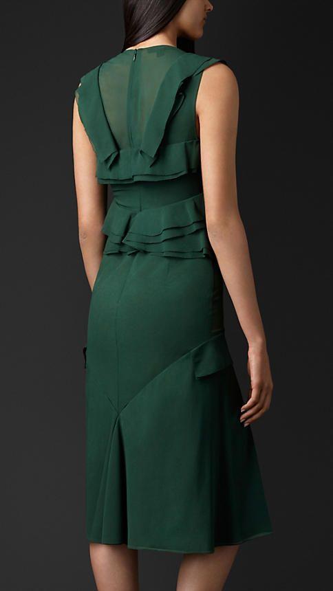 Burberry Prorsum Layered Silk Ruffle Detail Dress