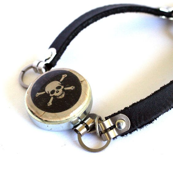 SKULL Jewelry Skull Bracelet Black Leather Skull and by uncorked