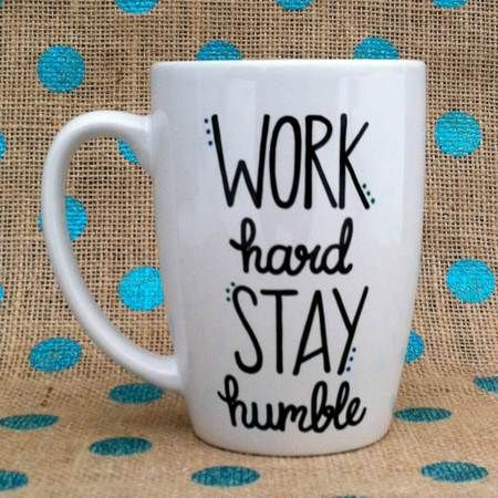 Work Hard Stay #Humble Hand Painted #Coffee Mug
