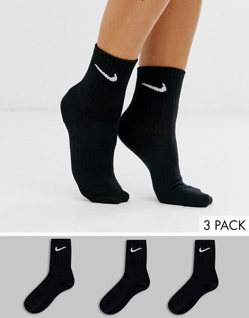 Nike black swoosh logo 3 pack crew socks   Black nikes, Nike ...