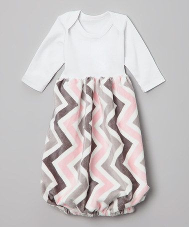 Another great find on #zulily! Light Pink & Silver Zigzag Minky Gown - Infant #zulilyfinds
