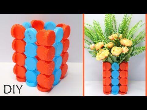 Vas Bunga Dari Tutup Botol Bekas How To Make Bottle Cups Craft