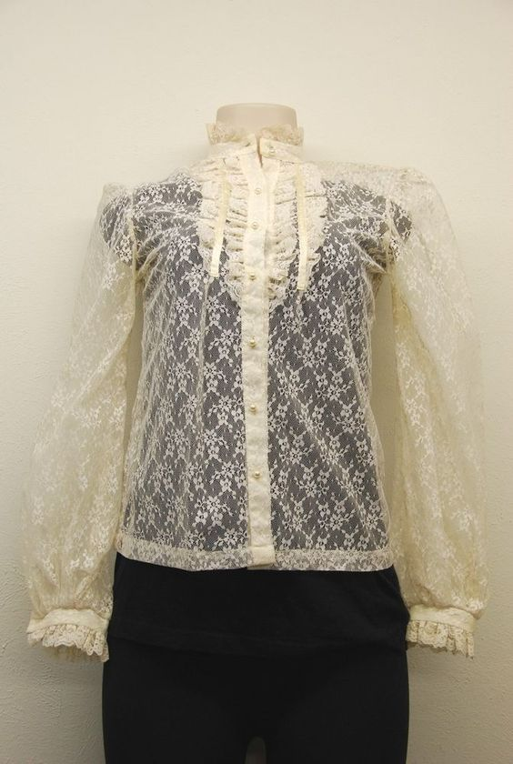 Vintage 80s Ladies Ivory Polyester Lace Ruffle Style Blouse sz : S (# 11842)