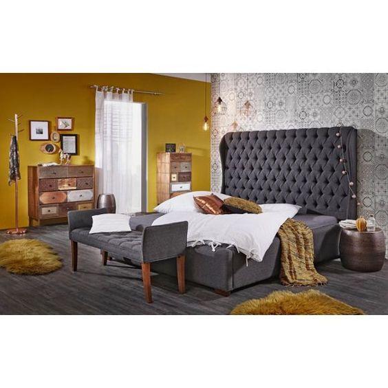 POLSTERBETT Flachgewebe Polsterbett, Betten und Anthrazit - italienische schlafzimmer katalog