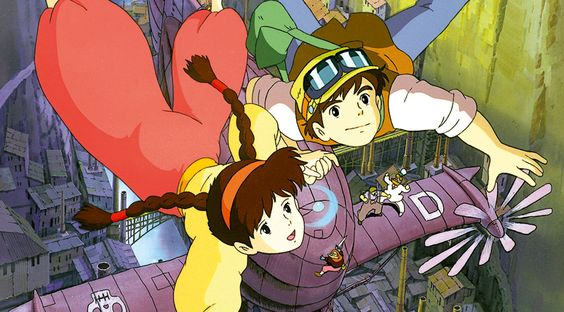 Castle in the Sky: Definitely a movie with Steampunk elements in it: Robots, flying airships, air pirates and more... Movie made by Hayao  Miyazaki, Ghibli Films.: Blu Ray, Sky 1986, Ghibli Movies, Miyazaki Studio Ghibli, Movie Poster, Hayao Miyazaki Studio, Anime Manga Cartoons Comics