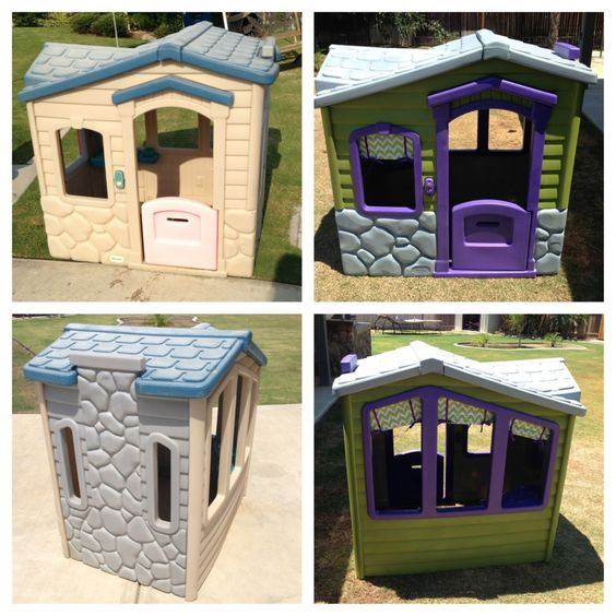Before After 15 Dollar Garage Sale Playhouse I Taped