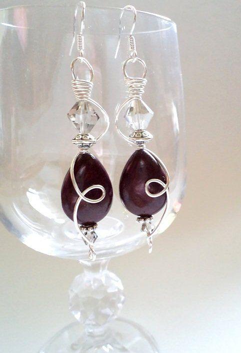 Dark Purple Earring  Silver plated Wire Handmade by NataliStudio, $12.00