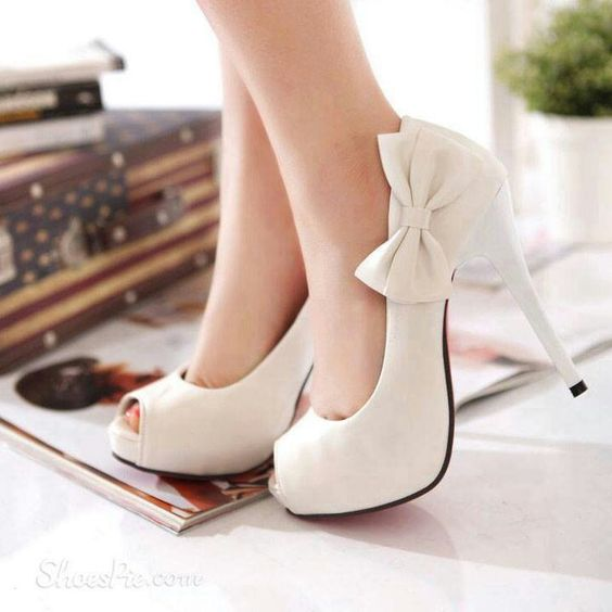 White bow heels  shoes  Pinterest  Grey Heels and Cute shoes