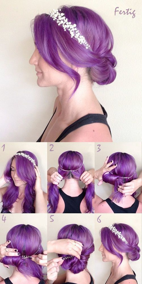 How to: messy bun + flower crown. Why is her hair purple...ruins it!: