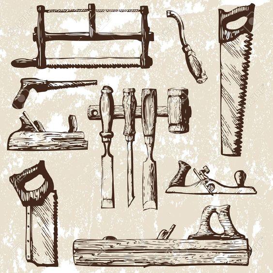 Conjunto de herramientas de carpintería.  Ilustracionón vectorial. Clip Art Vectorizado.